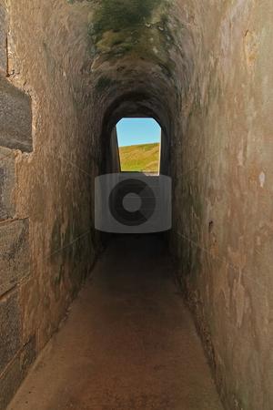 Earth Shelter stock photo, Fort Pulaski earth sheltered underground passageway by Jack Schiffer