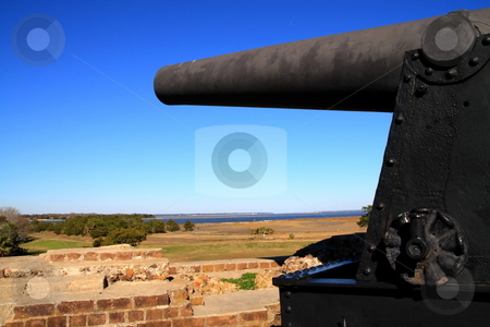 Confederate Canon stock photo, Confederate Cannon pointed in the direction of savannah river by Jack Schiffer