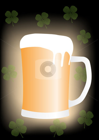 Saint Paticks Day Beer and Clover stock photo, Saint Patricks Day Beer mug with four leaf clovers - Raster Illustration by John Teeter