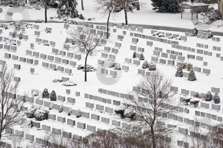 Cemetery stock photo, Cemetery in winter time in snow by Pavel Cheiko