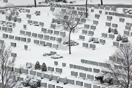 Cemetery stock photo, Cemetery in winter in snow by Pavel Cheiko