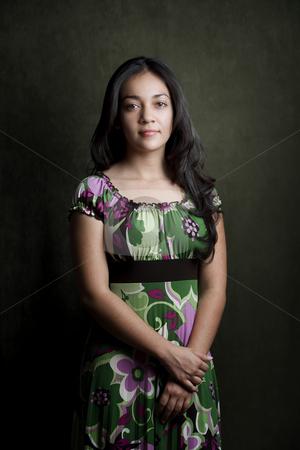Pretty Hispanic teenager stock photo, Portrait of pretty brunette Hispanic young woman by Scott Griessel
