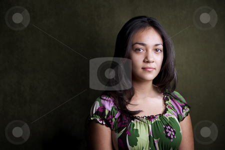 Pretty Hispanic teenager stock photo, Portrait of pretty brunette Hispanic young woman by Scott Griessel
