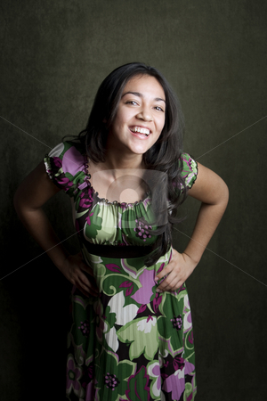Laughing Hispanic Girl stock photo, Hispanic girl with bright expression on her face by Scott Griessel