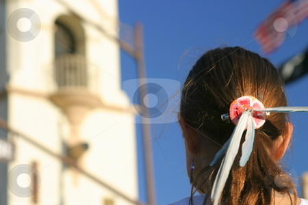Girl Feather Headdress stock photo, Feather headdress of an Inca girl at a festival by Henrik Lehnerer