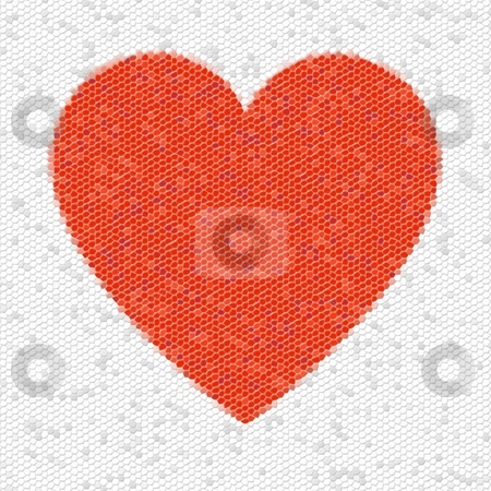 Heart Mosaic Hexagons stock photo, Red heart mosaic made from little tiles. by Henrik Lehnerer