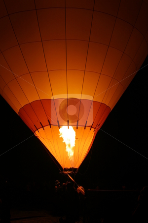 Hot Air Balloon stock photo, Hot air baloon with flame from burner. by Henrik Lehnerer