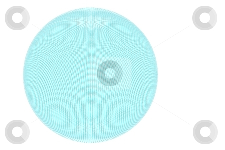 Wire Globe Full Blue White Backgound stock photo, Globe with a full wire grid on white background. by Henrik Lehnerer