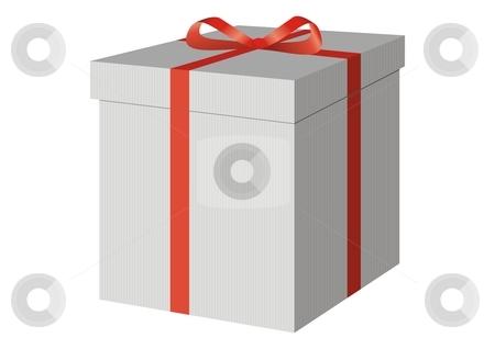 A present box with a red bow stock photo, A present box with a red bow by Mihai Zaharia