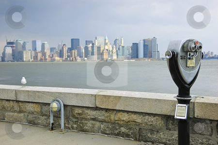 Coin Binocular stock photo, Coin binocular pointed at Manhattan by Rubens Alarcon