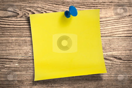 Yellow paper note  on wood, clipping path. stock photo, Yellow paper note with thumbtack on wooden surface, clipping path. by Pablo Caridad