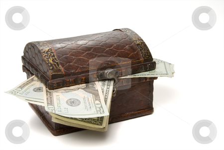 Treasure Chest stock photo, A Treasure Chest full of cash money. by Robert Byron