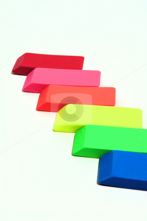 Eraser Abstract stock photo, Erasers in various color shades on a light colored background by Lynn Bendickson