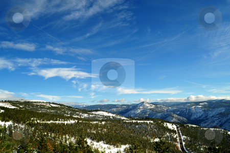 California Mountain View stock photo, Looking over the forest and mountain tops of the California Sierra Nevada mountains, image contains GPS location information by Lynn Bendickson