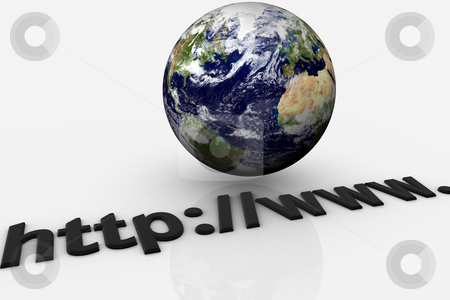 Internet Earth stock photo, Earth globe over an url simbolizing internet by Santiago Hernandez