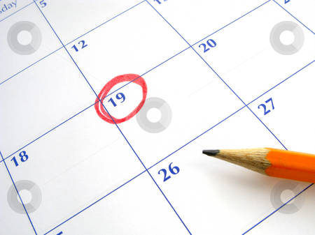 Circled date on a calendar. stock photo, Circled date on a calendar. by Stephen Rees