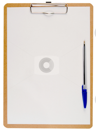 White paper on a clipboard and a blue pen. stock photo, White paper on a clipboard and a blue pen, isolated on a white background. by Stephen Rees