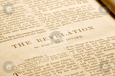 Revelations in an antique bible printed in 1882. stock photo, Revelations in an antique bible printed in 1882. by Stephen Rees
