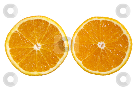 An orange sliced in half. stock photo, An orange sliced in half. by Stephen Rees