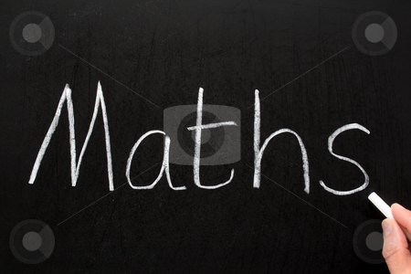 Maths, written with white chalk on a blackboard. stock photo, Maths, written with white chalk on a blackboard. by Stephen Rees