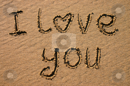 I love you, written on a beach. stock photo, I love you, written on a beach. by Stephen Rees