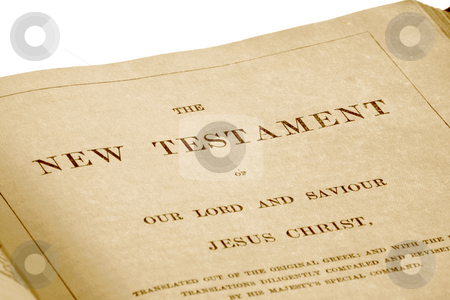 The New Testament in an antique bible printed in 1882. stock photo, The New Testament in an antique bible printed in 1882. by Stephen Rees