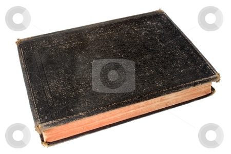 Old black book with a blank cover. stock photo, Old black book with a blank cover. by Stephen Rees