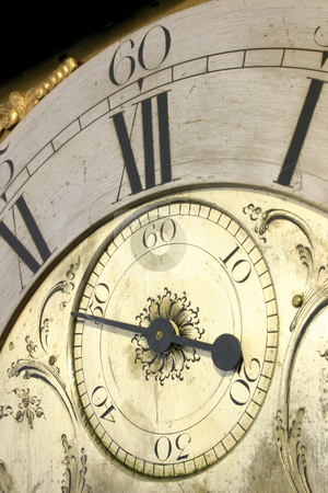 Close up of the face of an antique grandfather clock. stock photo, Close up of the face of an antique grandfather clock. by Stephen Rees