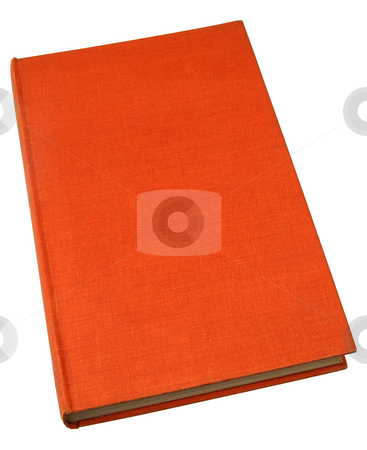 An old hardback book with a textured orange cover. stock photo, An old hardback book with a textured orange cover. by Stephen Rees
