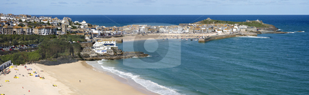 A panoramic view of St. Ives in Cornwall, UK stock photo, A panoramic view of St. Ives in Cornwall, UK by Stephen Rees