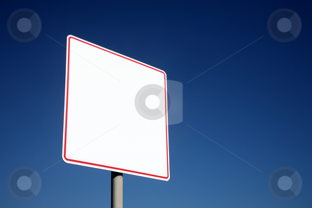 Blank white sign and a big deep blue sky. stock photo, Blank white sign and a big deep blue sky. by Stephen Rees