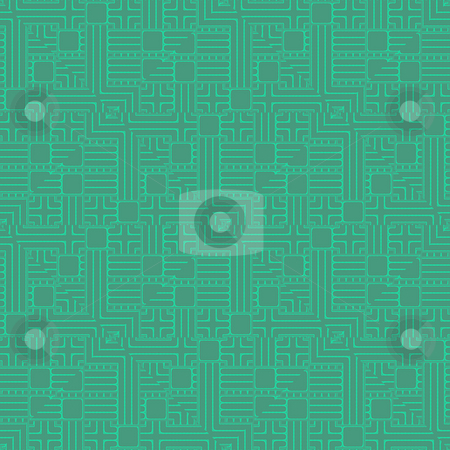 Circuit board repeat stock photo, Seamless repeating circuit board design in green and blue by Michael Travers