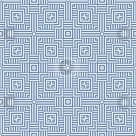 Square repeat stock photo, Abstract blue and white square background design by Michael Travers