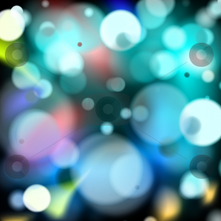 Disco lights stock photo, Multi coloured disco lights on a black background by Michael Travers