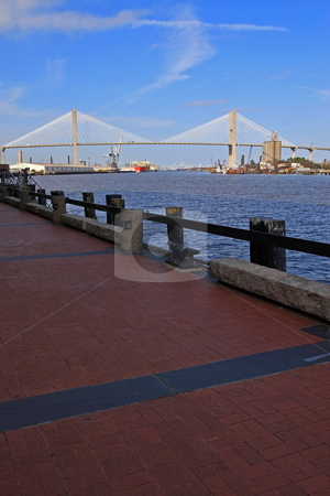 Talmadge Memorial Bridge stock photo, Savannah river with the Talmadge memorial bridge by Jack Schiffer