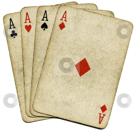 Four old vintage dirty aces poker cards, isolated over white. stock photo, Four old vintage dirty aces poker cards, isolated over white. by Stephen Rees