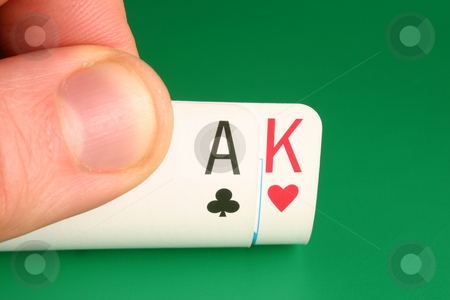 Looking at Ace King Big Slick during a poker game stock photo, Looking at Ace King (Big Slick) during a poker game by Stephen Rees