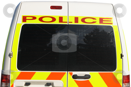 The back of a British police van. stock photo, The back of a British police van. by Stephen Rees