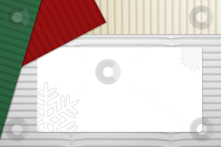 Holiday Corrugated Cardboard with Tag stock photo, Holiday Corrugated Cardboard Macro Background and room for your own text. by Andy Dean