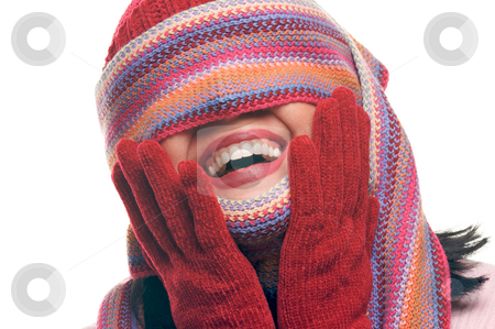 Attractive Woman With Colorful Scarf Over Eyes stock photo, Attractive Woman With Colorful Scarf Over Eyes Isolated on a Whiite Background. by Andy Dean