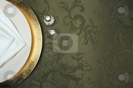 Silk Background and Plate Setting stock photo, Silk Background and Plate Setting Overhead by Andy Dean