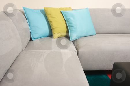 Grey Suede Couch & Pillows stock photo, Abstract of Grey Suede Couch & Pillows by Andy Dean