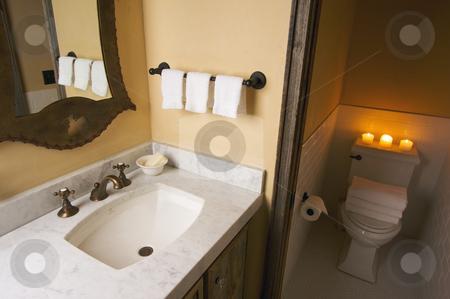 Rustic Bathroom Scene stock photo, Rustic Bathroom Sink and Toilet Scene by Andy Dean