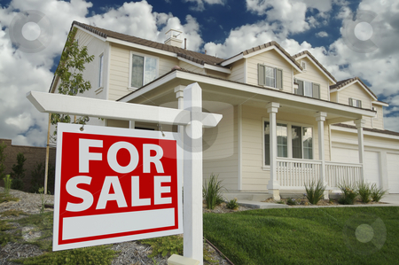 Home For Sale Sign & New Home stock photo, Home For Sale Sign in Front of Beautiful New Home by Andy Dean