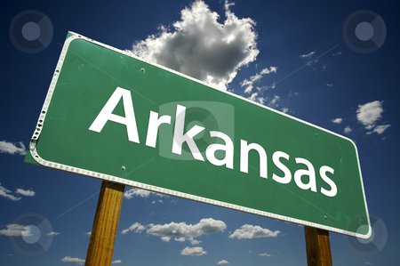 Arkansas Road Sign stock photo, Arkansas Road Sign with dramatic clouds and sky. by Andy Dean