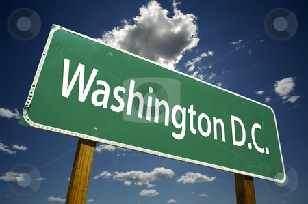 Washington D.C. Road Sign stock photo, Washington D.C. Road Sign with dramatic clouds and sky. by Andy Dean