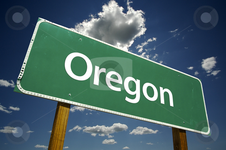 Oregon Road Sign stock photo, Oregon Road Sign with dramatic clouds and sky. by Andy Dean