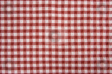 Red and White Picnic Blanket stock photo, Red and White Checkered Picnic Blanket Detail by Andy Dean