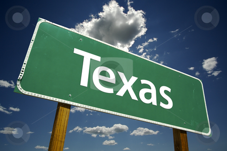 Texas Road Sign stock photo, Texas Road Sign with dramatic clouds and sky. by Andy Dean