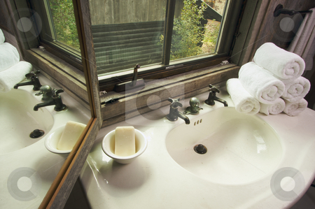 Rustic Bathroom Scene stock photo, Rustic Bathroom Sink and Window by Andy Dean